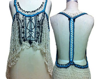 Crochet Tank top with Front Beading and contrast neck colors
