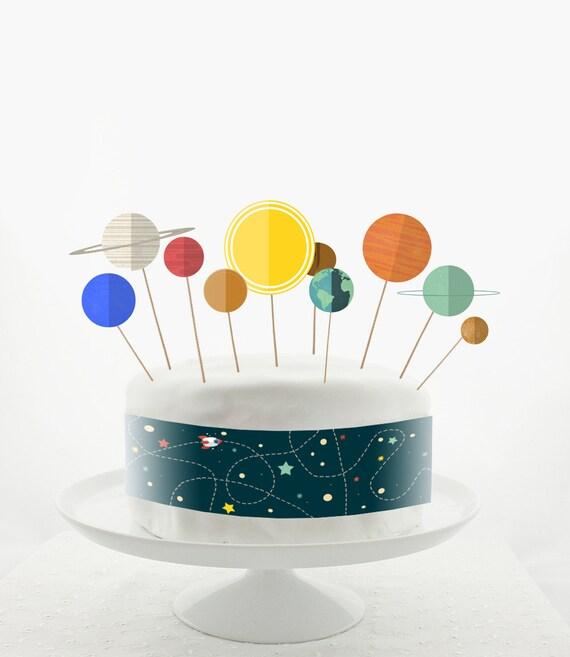 Cake Topper Set Cake Decorations PRINTABLE DIY Solar