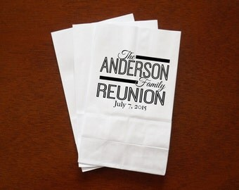Family Reunion Favor Bags, Popcorn, Candy Buffet, Chocolate Bar, Treat Bags - Custom Name and Date