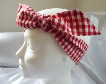 Red and white or pink and white gingham check head wrap hair tie bandana head scarf headwrap