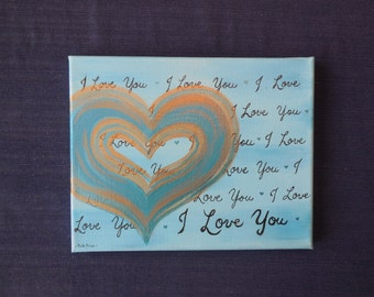 I Love You Heart Painting on Canvas