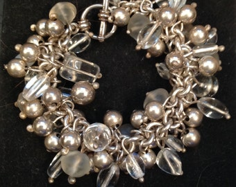 Sterling silver and clear glass bead bracelet