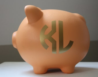 Large Orange and Gold Monogram Personalized Piggy Bank