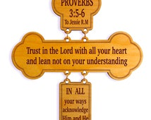Custom Favorite Bible Verse Wall Accent, Proverbs 3:5-6 Decorative Wood Wall Cross, Christian Home Decor, Spiritual and Inspirational Decor.