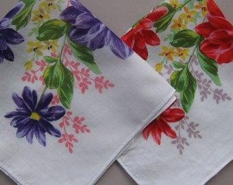 Vintage Handkerchief PAIR Zinnias Red and Purple