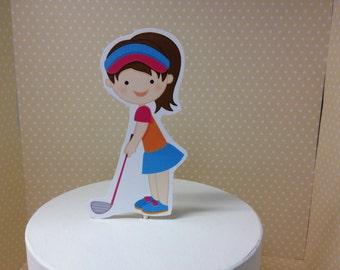 Girls Golf Miniature Golf Cake Topper Decoration