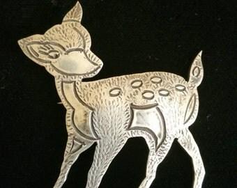 Native American Silver Deer Pin