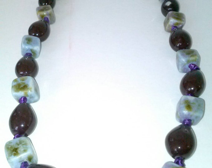 Marble Stone Multi Color Purple Ribbon Necklace.