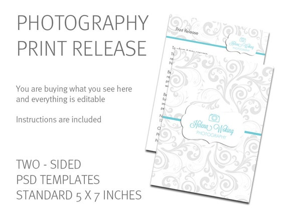 Print Release Template   Photography Print Release Card   Photography  Business Form   Digital Download Psd File