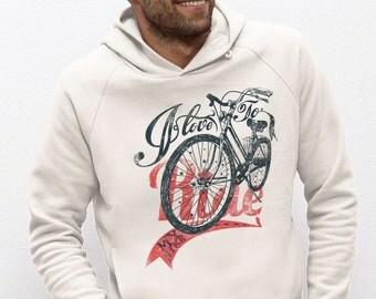 SWEAT-SHIRT capuche Coton Doux BIO Homme coton équitable blanc chiné visuel imprimé Rider