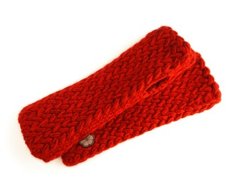 Red mittens, big mesh 100% natural color Alpaca (cochineal), handmade