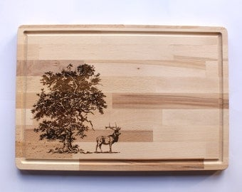 Wooden Cutting Board, Deer Engraving, Wildlife Collection