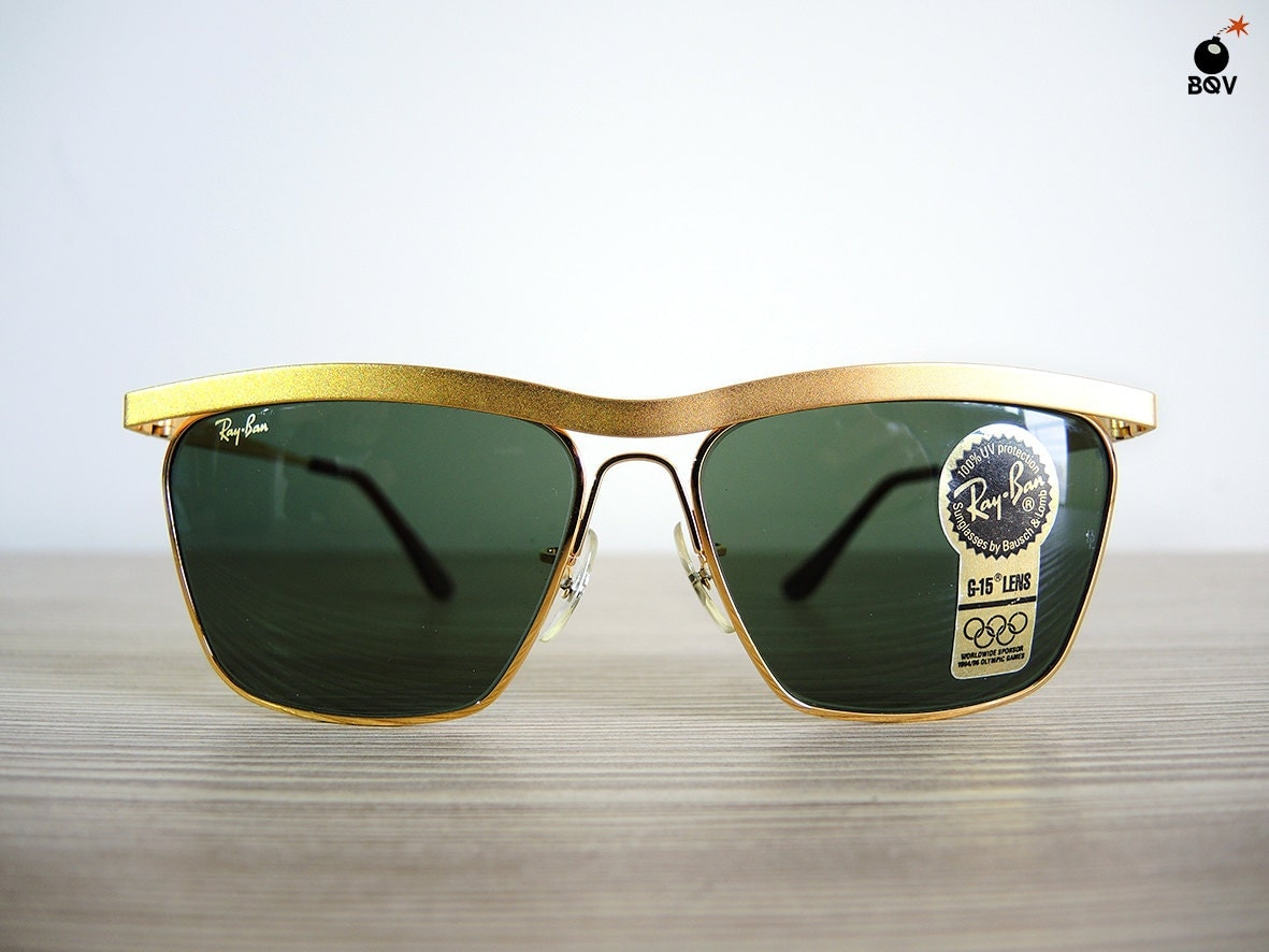 Vintage Ray Ban W1303 90s Vintage Sunglasses Gold Frame