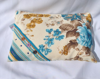 PC bag in blue floral fabric