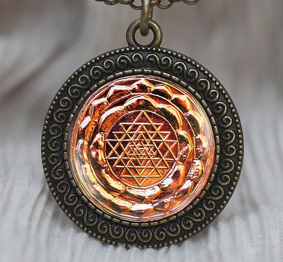 sri yantra pendant sacred geometry jewelry by pedantworld