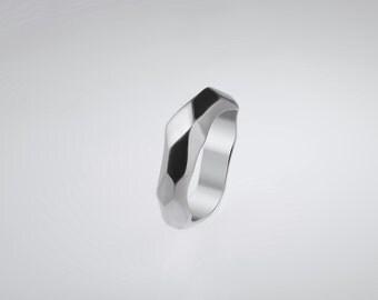 Handmade Geometric Silver Engagement Ring For Men , For Him , RS-1041