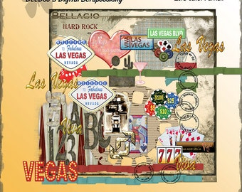 Las Vegas Digital Scrapbook Kit, Las Vegas themed papers and embellishments, unique frames, inked overlays,Las Vegas words-INSTANT DOWNLOAD