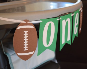 "Football Theme Birthday ""ONE"" Highchair Banner"