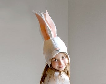 Bunny PATTERN DIY costume mask sewing tutorial creative play woodland animals ideas for kids baby children easter holiday Halloween gift