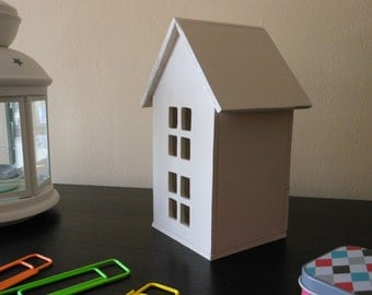 Decorative wooden cottage   White wooden house   Decorative White House   Handmade   White
