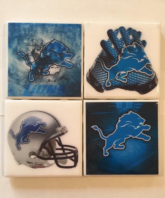 Items Similar To Coasters Handmade Detroit Lions Ceramic