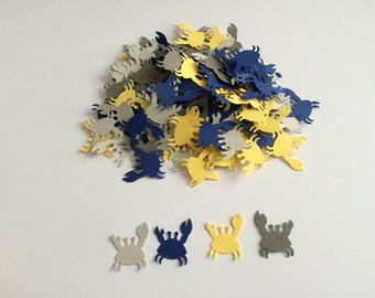100 Blue, Yellow and Grey Crab Confetti, Die Cut Crab, Baby Shower, Ahoy its a Boy, Clam Bake, nautical party, wedding shower, beach party