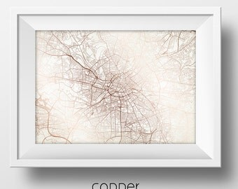 Manchester England Street Map Modern Minimalist Art Print Office or Home Wall Decor