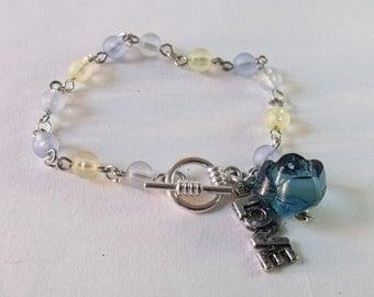 Blue Rose Charm Bracelet