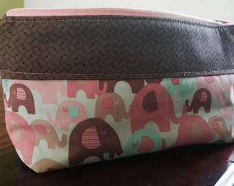Cute pink and brown elephant pencil case.