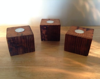 Wood candle holders, Pine Tree Candle Holders /  Set Of Three / Woodland Decor / Log Cabin Style Accessories / Tea Light Candle Holder /