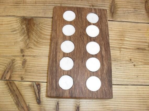 Tea light vintage oak wood table centerpiece by