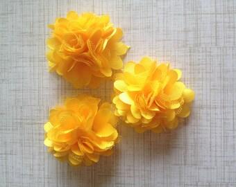 "Mini Satin and Tulle Puffs, 2"" Satin Mesh Flower, Yellow Satin Flower, Wholesale Flower, Boutique Supplies, DIY Headband"