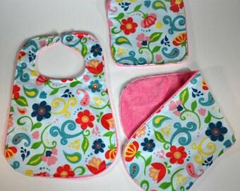 Flower bib, burp cloth and wash cloth set