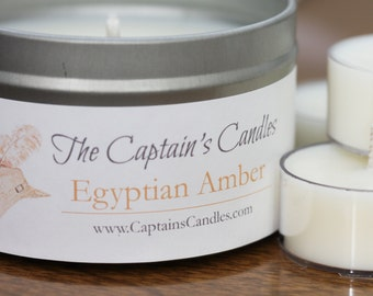 Egyptian Amber Candle Tin - 100% All Natural Soy Candles - Love Candle - Sensual Candle - Romance Candle - Hand Poured - 8oz Soy Candle