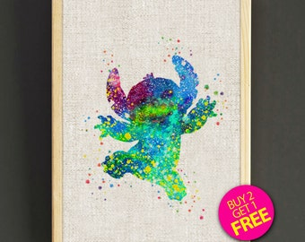 Disney Stitch Prints, Stitch Poster, Nursery Prints, Kids Decor, Home Decor, Gifts, Watercolor Painting, Wall Art -Free Shipping- 97s2g