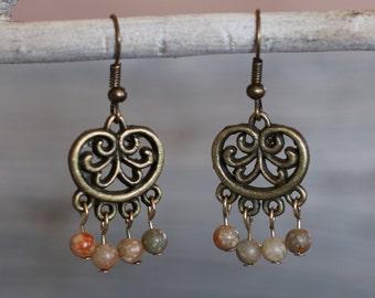 Handmade Autumn Jasper and Antiqued Brass Chandelier Earrings