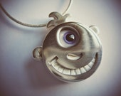 Meet Sprig - Sterling Silver Happy Smiling Adorb Face Pendant with Handblown Glass Eye and Teeth