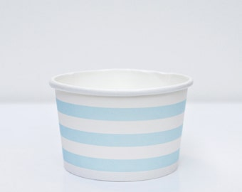 Ice Cream Cups Baby Blue Striped Pack of 10 Party Supplies