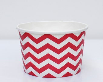 Ice Cream Cups Red Chevron Pack of 10 Party Decor