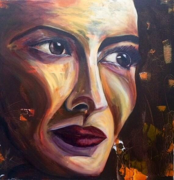 Acrylique sur toile peinture visage femme moderne wall - Peinture sur visage ...