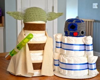 Yoda and R2D2 Star Wars Inspired Diaper Cakes, Set of 2
