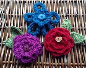 Hand Knitted Knitted Flower Brooch, Corsage, Handbag Charm