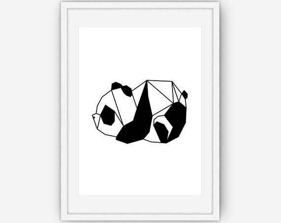 Origami Panda Print, Bear Print, Origami Panda Wall Art, Bear Wall Art, Animal Origami, Minimalist Wall Art