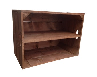 Standard, Rustic Wooden Apple Crate Box With Long Shelf