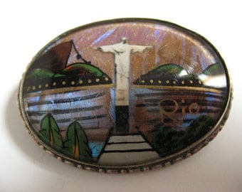 Vintage Brazilian Brooch of Christ the Redeemer.