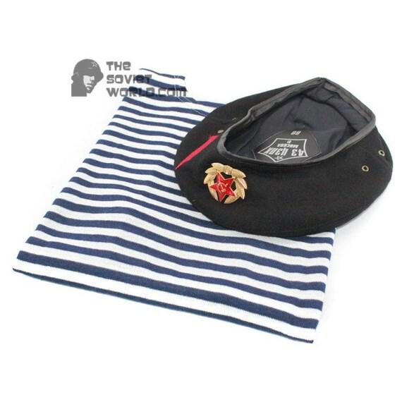 Soviet navy russian marines striped t shirt vest and beret for French striped shirt and beret