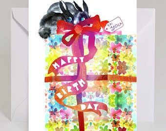 A Gift From Bunnies, Birthday Card / Style #B34