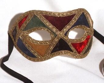 Masquerade mask for Men - Venetian Mask - Checkered colored Harlequin Venetian Mask for Men D30/31