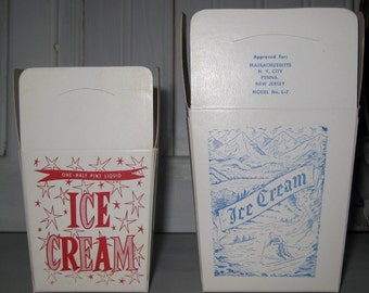 Pair of Vintage Ice Cream Cartons Pint and Half Pint