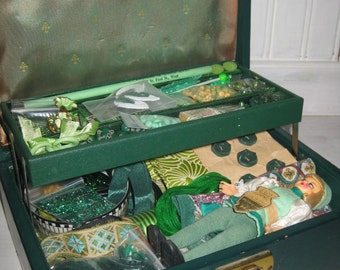 Treasury Item Green Craft Nest Jewellery Box Full of Vintage Supplies